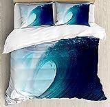 Ambesonne Ocean Decor Bettbezug Set by, tropischen Surfen Welle auf Wind, Sea Indonesien Sumatra, dekorative Bettwäsche-Set mit kissenrollen, Textil, Multi 1, QUEEN/FULL