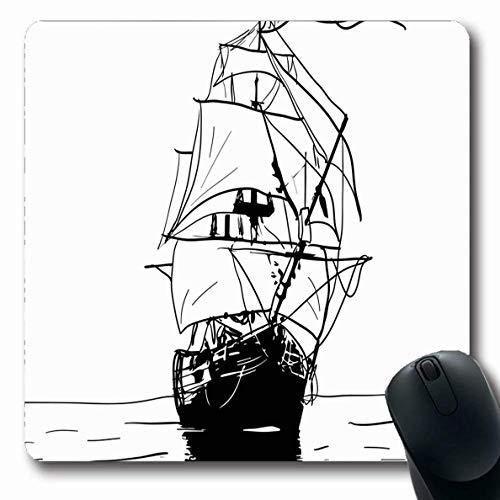 Luancrop Mauspads für Computer Seemarine-Galeone-Schwarz-weiße Skizze, die altes künstlerisches Schiff segelt Weinlese-Seenavigations-Abenteuer-rutschfeste längliche Spiel-Mausunterlage