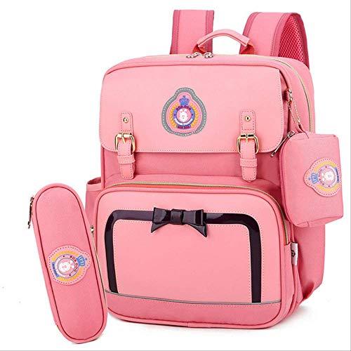 Xjwq zaino scuola borse scuola primaria per ragazze nuovo marchio di moda bambini impermeabile zaino per lo zaino studentesco studente borsa carino bow kids schoolbag 3pcs / set rosa