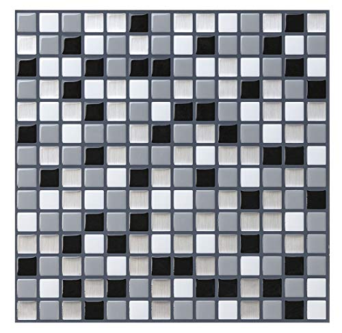"""Tile Stickers (3D Tiles) for Kitchen or Bathroom, Premium Anti Mold Self Adhesive Mosaic Tiles Stick on Tiles Backsplash 10"""" x 10""""(Pack of 4 Sheets)"""