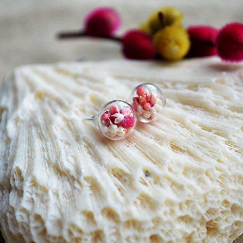 Ein Paar Rot Rosa Weiß Babysbreath Echte Blume Glas Kugel 925 Sterling Silber - Kugeln Trockene
