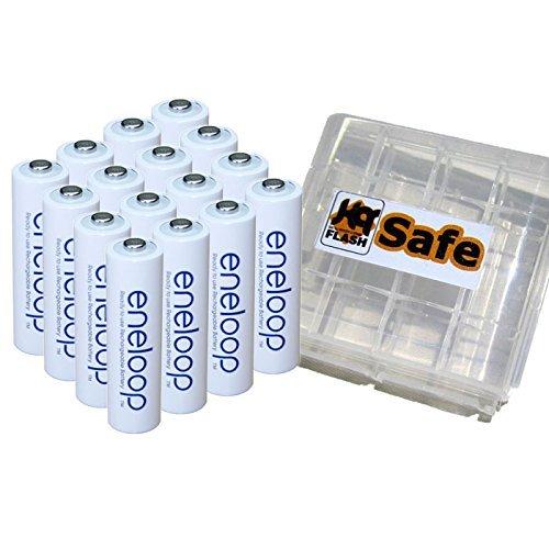 16er Panasonic eneloop Mignon Akkus Batterien AA NEUESTE VERSION BK-3MCCE mit kQ-Safe Aufbewahrungsboxen -