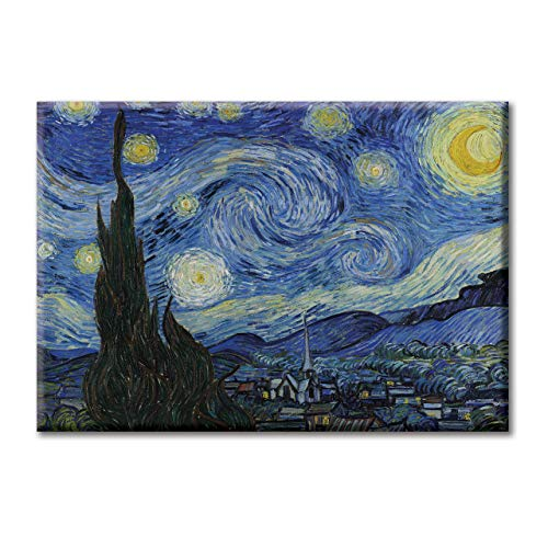 KiarenzaFD Bild auf Leinwand Van Gogh Notte Stellata Post-impressionismus, KCAA01739-70x50cm, 70x50cm -