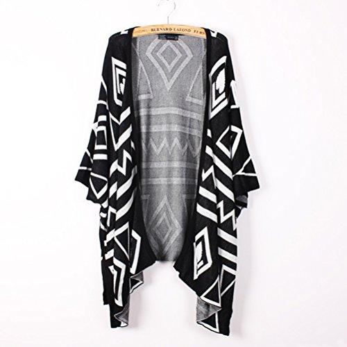 VORCOOL Womens Girls On-Neck pipistrello maniche corte mini vestito Bohemian stampa floreale (nero)