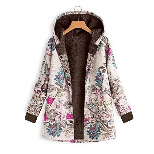 SEWORLD Mantel Oberbekleidung Sweatshirt Damen Langarm Warmer Lösen Blumenmuster Mit Kapuze Taschen Vintage Übergröße Pullover für Winter/Herbst/Frühling(X4-hot Pink,EU-44/CN-3XL)
