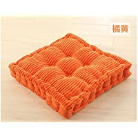 Anterrier Chunky Corderoy Chair Cushion Thick Soft Seat Pad Orange Chair Pad (quadrate)
