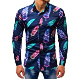 UJUNAOR Herrenmode Printed Bluse Casual Langarm Slim Shirts Tops M bis 5XL(5XL,Multicolor 6)