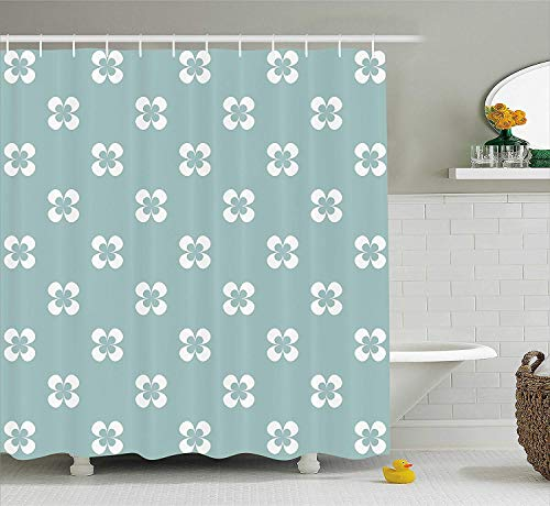 White Almond Bath (HiExotic Duschvorhang Whimsy Floral Shower Curtain Sets Pattern with Graphic White Pansy Flowers on Green Backdrop,Non-Toxic Waterproof Decor,Almond Green White,60X72In)