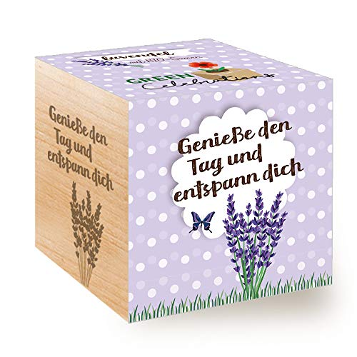 Feel Green Celebrations Ecocube, Semi biologici di Lavanda, cubo di Legno con Incisione Laser Genieße den Tag und entspann Dich, Idea Regalo sostenibile, Set di Coltivazione, Made in Austria