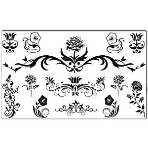 Tatouages Éphémères Bling Art Planche Fleur Noir de 13 Tatouages pour Femmes RU