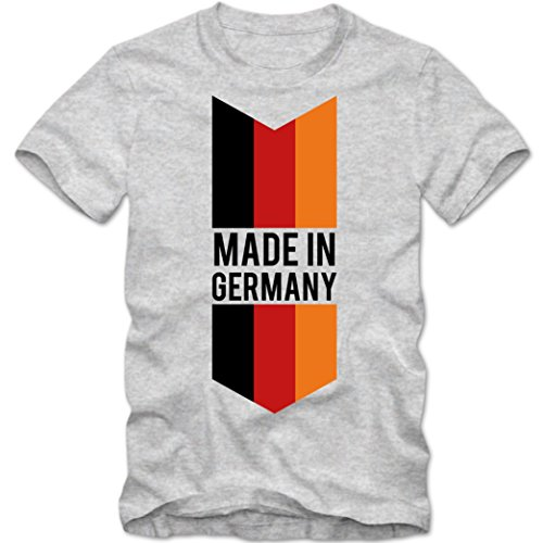 Made in Germany T-Shirt | EM 2016 | Deutschland Shirt |Bundesrepublik | Tee © Shirt Happenz graumeliert (grey melange) 01