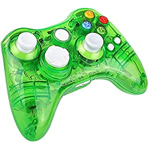 Molyhood XBOX 360 Wireless Controller, Xbox 360 Wireless Gamepad PC-Controller Transparente Gamepad mit 8 LED-Leuchten für PC/Xbox 360 (Windows XP/7/8/10), rot