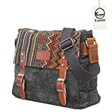 Yoome Ethnic Style Messenger Bag Multifunktionale Canvas Crossbody Umhängetasche für Herren & Damen