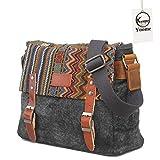 Yoome Style Ethnique Messenger Bag Multifonctionnel Canvas Crossbody Sac à bandoulière pour Hommes et Femmes