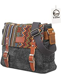 Yoome Ethnic Style Messenger Bag Multifunctional Canvas Crossbody Shoulder  Bag for Men   Women 1b59e116c5577