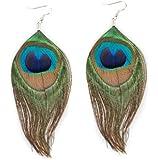 Gleader 1 Paar Peacock Multicolor Feder Fashion Ohrhaenger