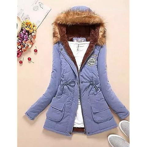 RONGFU ® Cappotto Da donna Parka Moda città Manica lunga Cotone , light blue-l , light blue-l