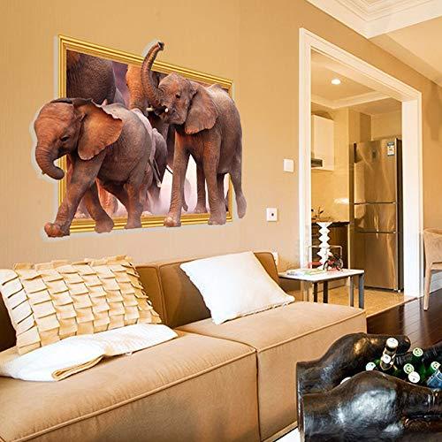 Dokfh 3D Wandaufkleber 3D Elefant Dekorative Wandbild Tier Simulation Afrikanischen Stereo Elefant Wand Wand Gefälschte Spiegel Fensteraufkleber Wohnzimmer Schlafzimmer (Afrikanische Wand-spiegel)