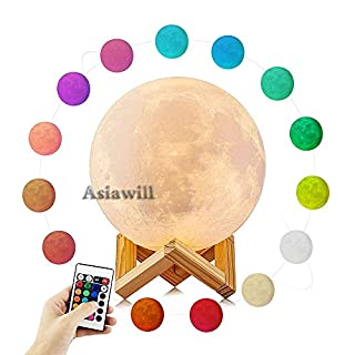 Asiawill 16 Colors Moon Style Lamp USB Recharge LED Night Light with Remote Touch Control Dimming for Kid Room Decoration