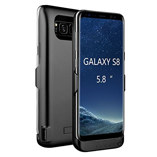 Arc Samsung Galaxy S8 External Battery Backup Case Charger Power Bank 5500mAh Stand Black