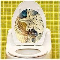 Flowerrs Casa Sea Starfish Pattern 3D Impreso Vista Impermeable Etiqueta engomada del Inodoro para la decoración del baño para bañarse