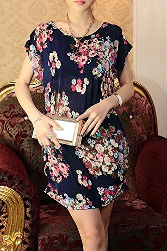 Lose Floral lässige T-Shirt Kleid für Damen 09