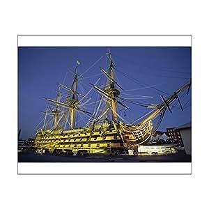 Robert Harding 10x8 Print of HMS Victory at night, Portsmouth Dockyard, Portsmouth, Hampshire, England (1148879)