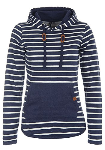 BlendShe Carina Damen Hoodie Kapuzenpullover Pullover Mit Kapuze, Größe:M, Farbe:Navy (70230) - Fit-blauer Streifen