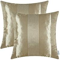 [Patrocinado]CaliTime Pack de 2 Fundas de Cojines Fundas de Fundas de Almohadas para sofá de Mesa Decoración para el hogar, Moderno a Rayas, 50cm x 50cm, Oro Ambar