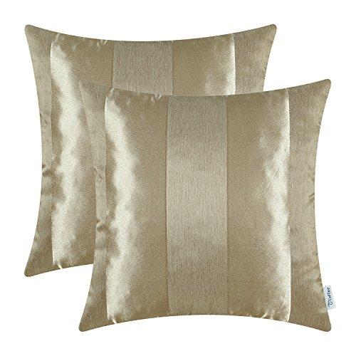 CaliTime Kissenbezüge Kissenhülle Packung mit 2 Dekokissenbezüge Schalen für Couch Sofa Home Decoration Modern Shining & Dull Contrast Striped 50cm x 50cm Amber Gold -