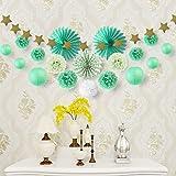 Deco Vert Salon Chambre Blanc Decoration Papier de Soie Pompon Rosace Lampion Boule Chinoise