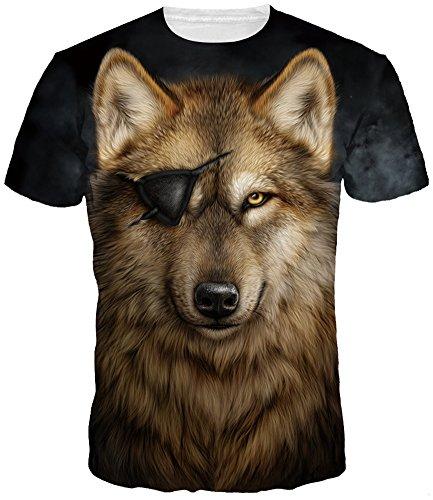 TDOLAH Herren Bunt Galaxy T-Shirt Sport Rundhals Spaß Motiv Tops einäugig Wolf