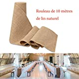 Gudotra 10Mx30cm Chemin Table en Jute Rouleau de Ruban en Toile pour Décor de Table Chaise Arbres de Noël Cadeau Mariage Banquet Baptême