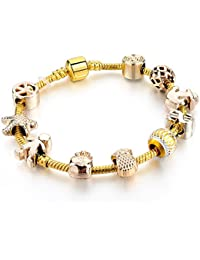Hot And Bold Gold Plated Pandora Inspired Peace Charms DIY Bracelet For Women/Girls.Daily/Party Wear Fashion Jewellery.