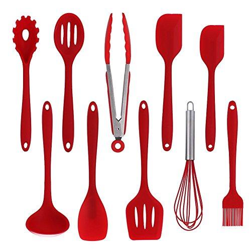 Silikon Küchengerät Von 10 Stück Nonstick Kochgeschirr Küchenutensil,Red