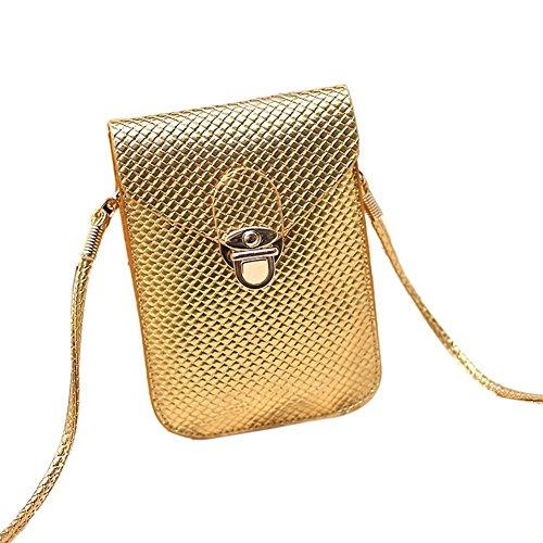 bourse de plaid - TOOGOO(R) Mode style de Preppy Femmes Mini sac sac de telephone portable en cuir PU Plaid Sac de messager Sac a bandouliere femmes bourse d'or