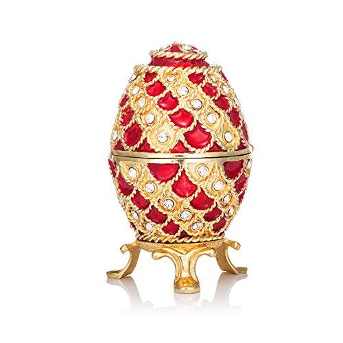 qifu-hand bemalt emailierten Fabergé Ei-Stil Dekorative Scharnier Schmuck Schmuckkästchen Einzigartiges Geschenk für Home Decor -