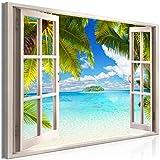 decomonkey | Mega XXXL Bilder Fensterblick Meer | Wandbild Leinwand 160x80 cm Einteiliger XXL Kunstdruck zum aufhängen | Landschaft Palmen