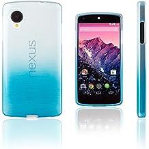 Xcessor Transition de Color Funda Carcasa Para LG Nexus 5. Flexible TPU Gel Con Gradient Hilo De Seda Textura. Transparente / Azul Claro