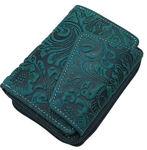 Vacchetta portafoglio per donna con blocco RFID & NFC (Verde Scuro)