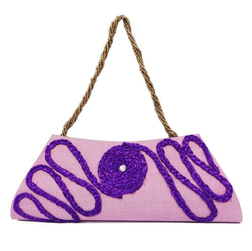 Handtasche Totes Lila Handgemachte Kupplung Frauen Mittlere Geldbörse Tasche Trimmen Helles Lila