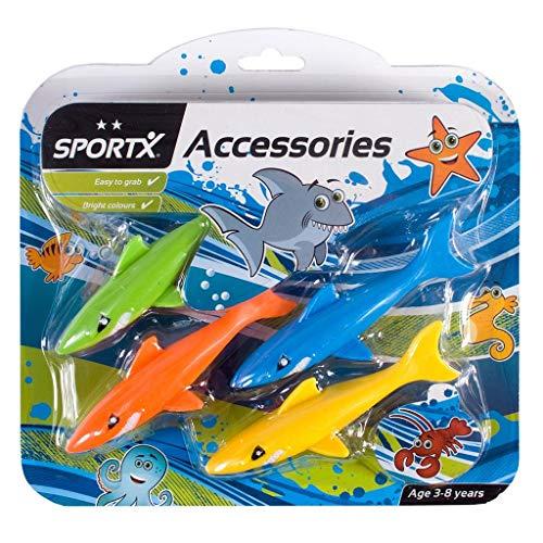 SPORTX 4 Tauchhaie Hai Tauchspielzeug Wasserspielzeug mit Gewicht Tauchen Pool Spielzeug -