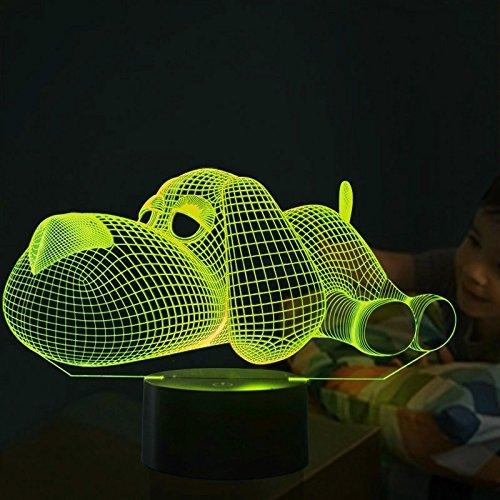 3D Hunde Illusions LED Lampen Tolle 7 Farbwechsel Acryl berühren Tabelle Schreibtisch-Nacht licht mit USB-Kabel für Kinder Schlafzimmer Geburtstagsgeschenke Geschenk.