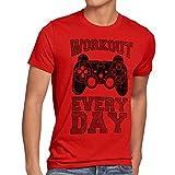 style3 Gamer Workout Homme T-Shirt play sport station console de ps jeu vidéo, Taille:XL;Couleur:Rouge