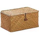 Wasserhyazinthe natur gef/üttert Truhe Small Aufbewahrungsbox aus Korbgeflecht L 41 x W 26 x H 25 cm