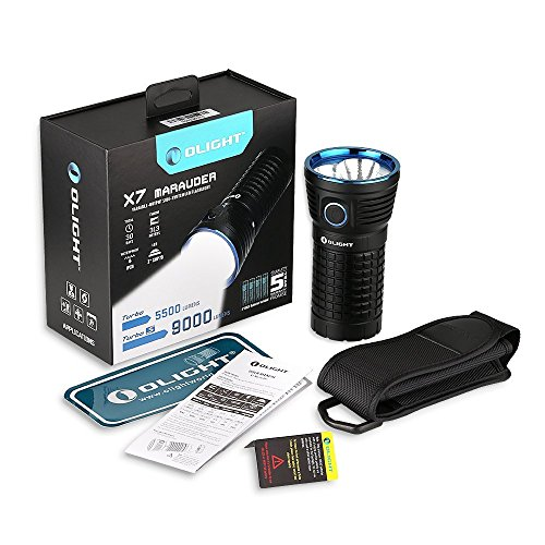 Olight® X7 Marauder 9000 lúmenes Linterna con 3 x Cree XHP70 CW LED - Super brillante, compacto y portátil