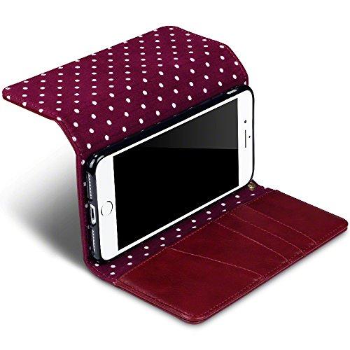 Terrapin Borsellino Custodia Premium di Cuoio del Raccoglitore per iPhone 8 Plus / iPhone 7 Plus Custodia, Colore: Rosso, del Puntino di Polka Interno Rosso