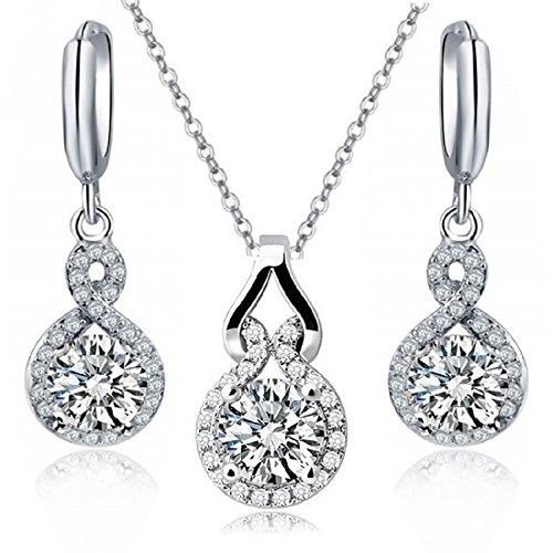 18 ct Chapado en oro blanco blanco claro Crystals from Swarovski conjunto Collar Pendientes de gota