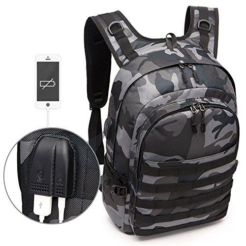 Gudelaa Camo Rucksack, Camouflage Outdoor-Reisen Laptop-Rucksack mit USB-Ladeanschluss & Kopfhörer-Schnittstelle für Männer und Frauen Fit 15,6 Zoll Laptop & Computer -