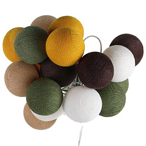 ART-CRAFT LED Stimmungs Textil-Lichterkette batteriebetrieben mit 20 handgefertigten Baumwollkugeln Leuchtfarbe weiß - beige - grün - braun -